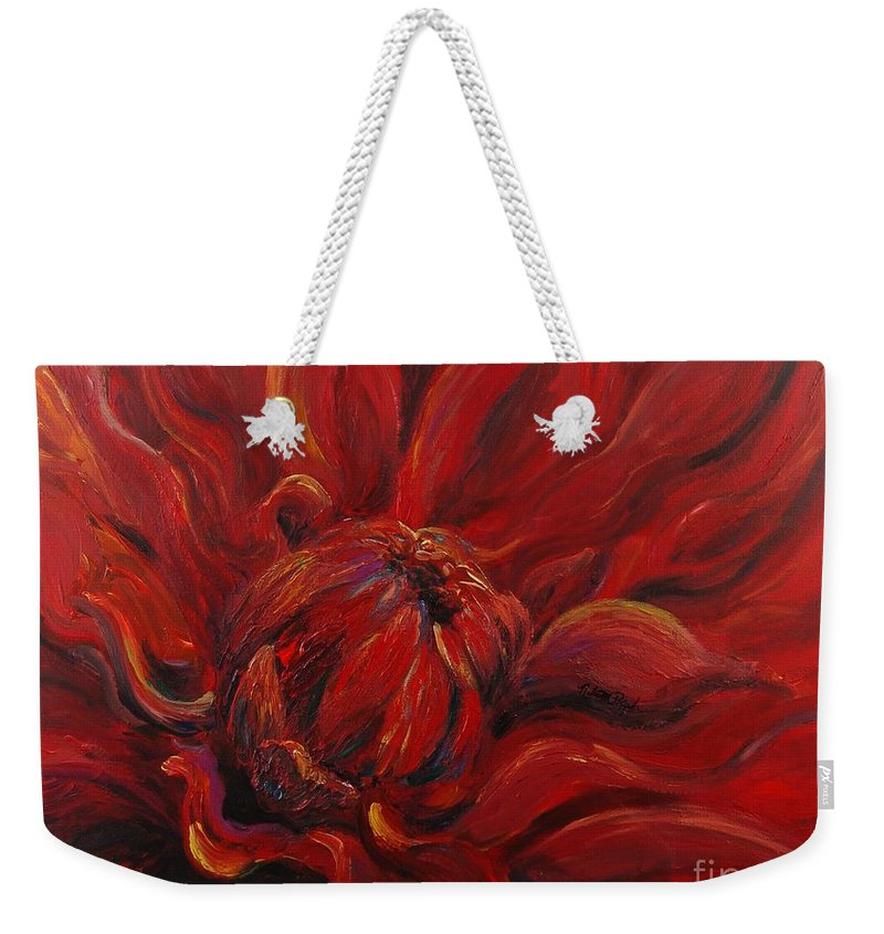 Red Weekender Tote Bag featuring the painting Passion II by Nadine Rippelmeyer