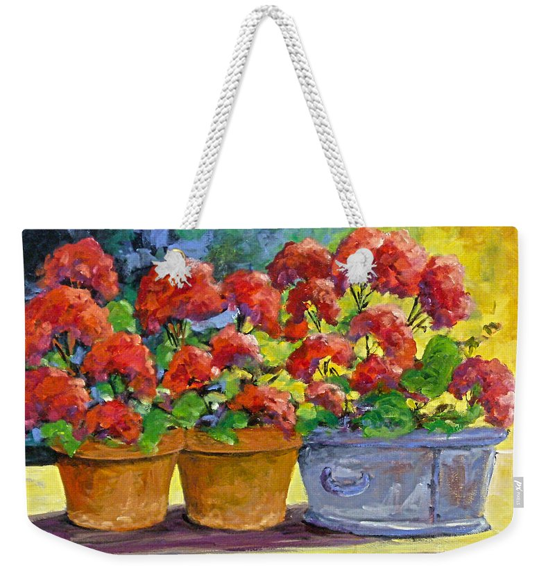 Still Life; Geraniums; Flowers; Terra Cotta; Red; Blue; Yellow; Green; Pranke; Weekender Tote Bag featuring the painting Passion In Red by Richard T Pranke