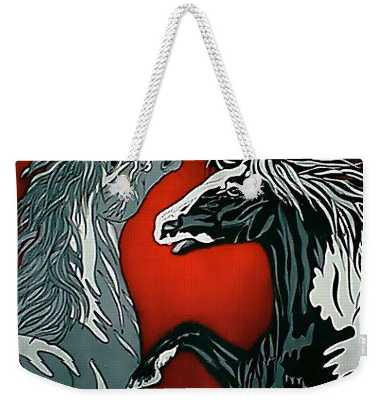 Horses Weekender Tote Bag featuring the painting Passion by Larry Rice