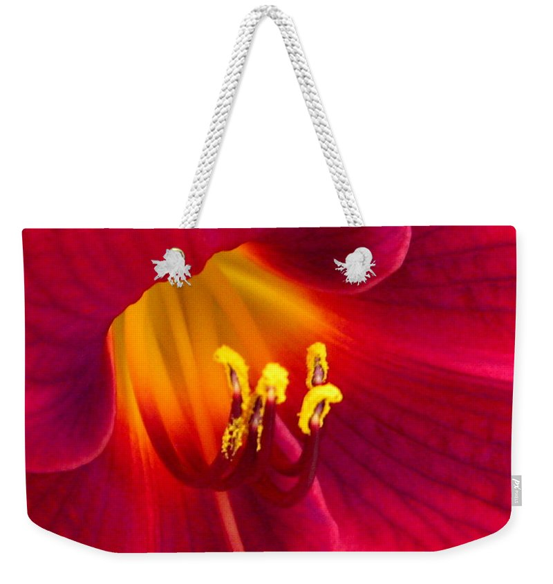 Floral Weekender Tote Bag featuring the photograph Passion by Marla McFall