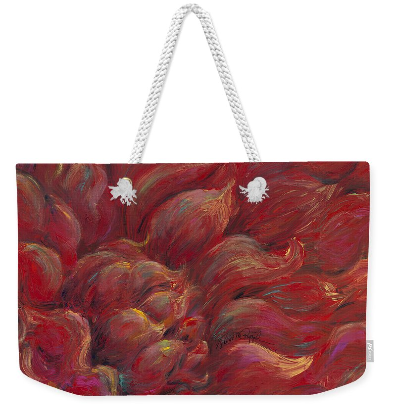 Red Weekender Tote Bag featuring the painting Passion V by Nadine Rippelmeyer