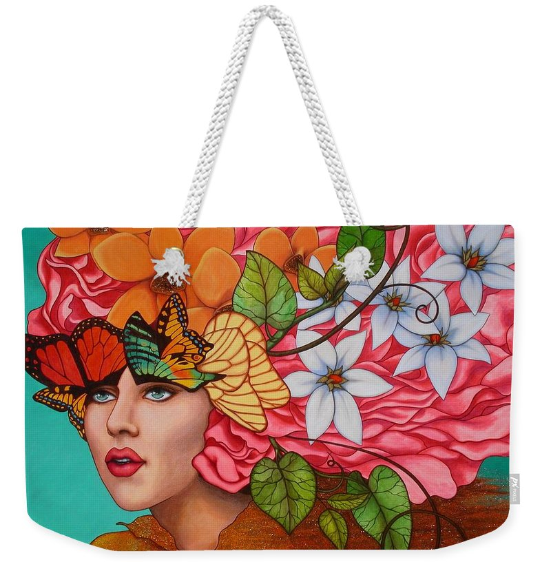 Woman Weekender Tote Bag featuring the painting Passionate Pursuit by Helena Rose