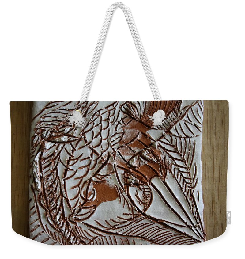 Jesus Weekender Tote Bag featuring the ceramic art Passions - Tile by Gloria Ssali