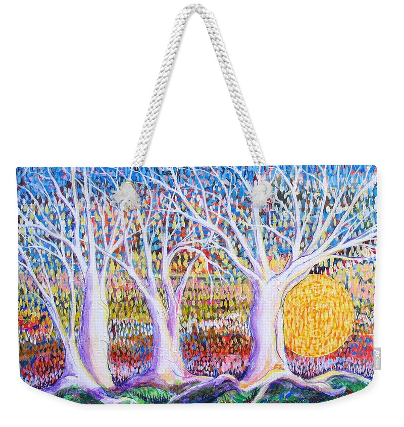 Landscape Weekender Tote Bag featuring the painting Past Present Future by Rollin Kocsis