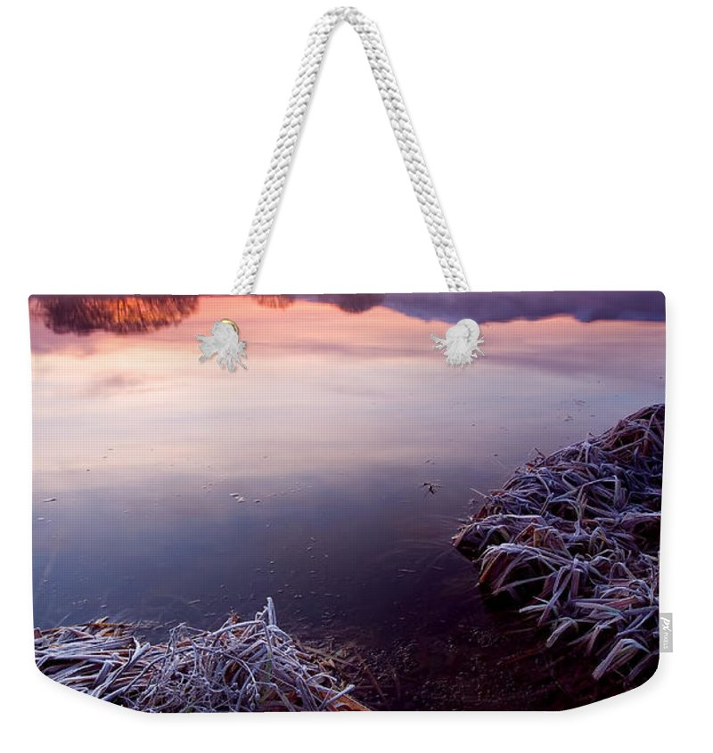 Lake Weekender Tote Bag featuring the photograph Pastel Dawn by Mike Dawson