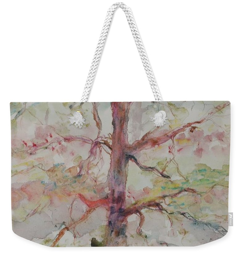 Forest Weekender Tote Bag featuring the painting Pastel Forest by Nadine Rippelmeyer