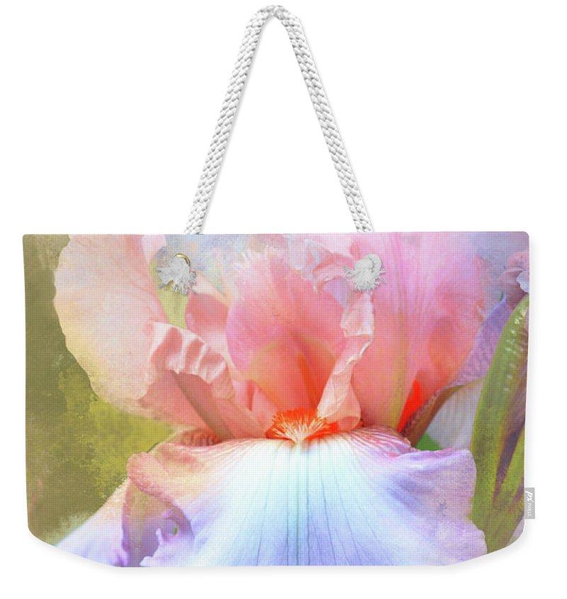 Iris Weekender Tote Bag featuring the photograph Pastel Iris Pleasure by Regina Geoghan