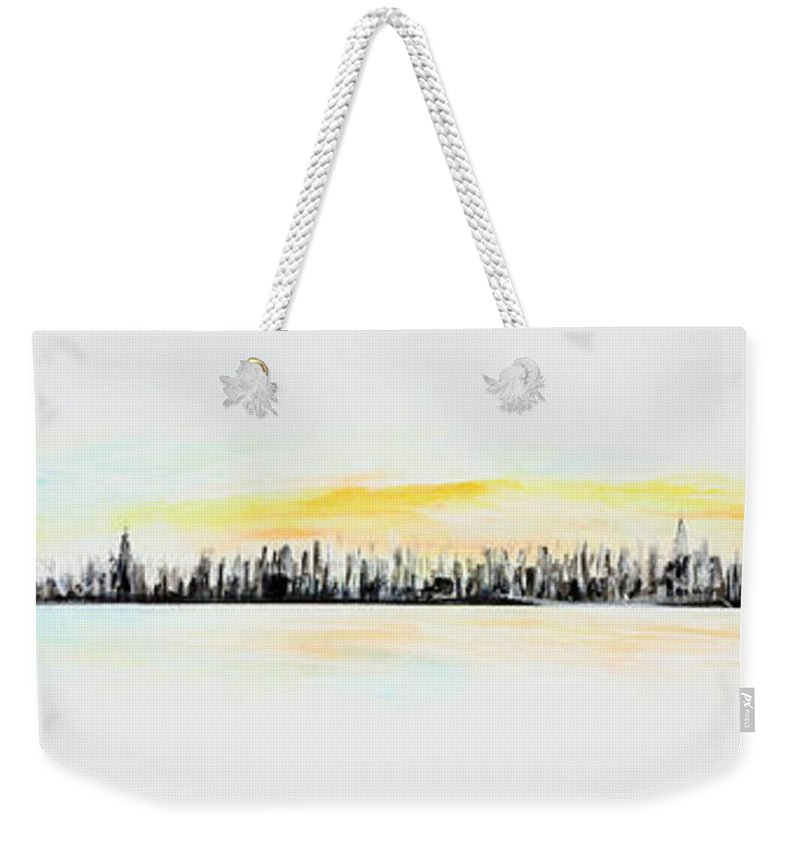Gold Weekender Tote Bag featuring the painting Pastel Smmer Sky by Jack Diamond