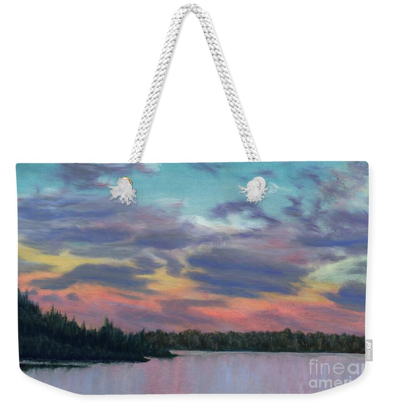 Landscape Weekender Tote Bag featuring the painting Pastel Sunset by Lynn Quinn