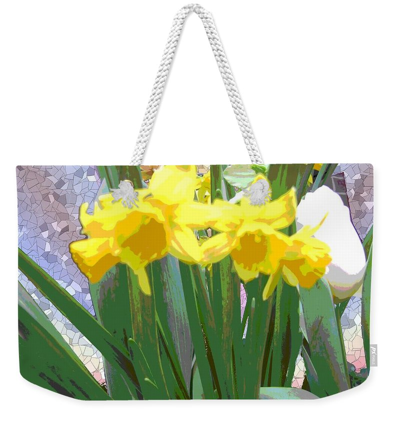 Tulips Weekender Tote Bag featuring the digital art Pastel Tulips by Tim Allen
