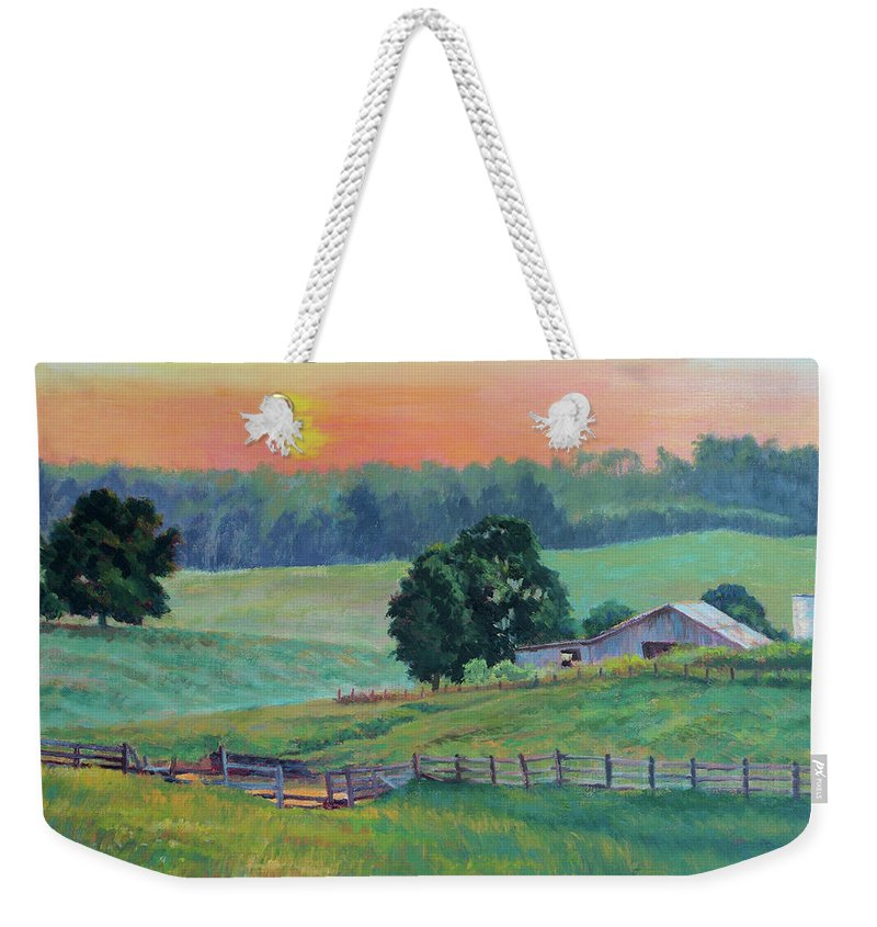 Impressionism Weekender Tote Bag featuring the painting Pastoral Sunset by Keith Burgess