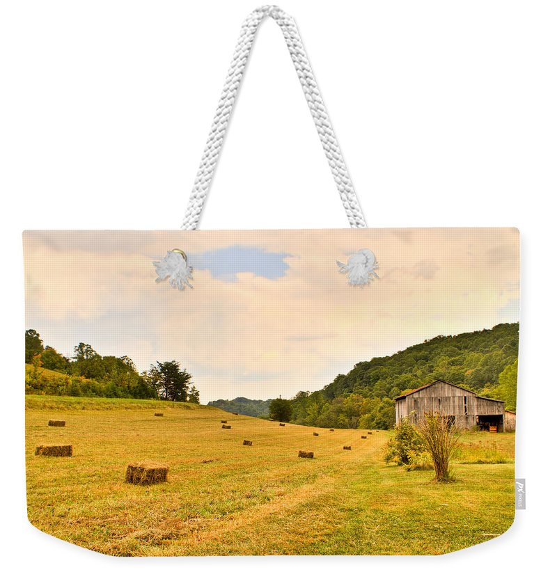 Pastorial Weekender Tote Bag featuring the photograph Pastorial Framland in Kentucky by Douglas Barnett