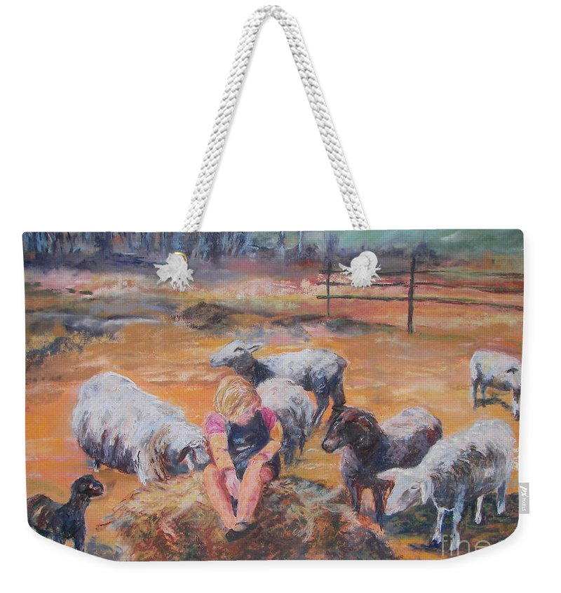 Farmstead Weekender Tote Bag featuring the pastel Pasture Acquaintances by Alicia Drakiotes