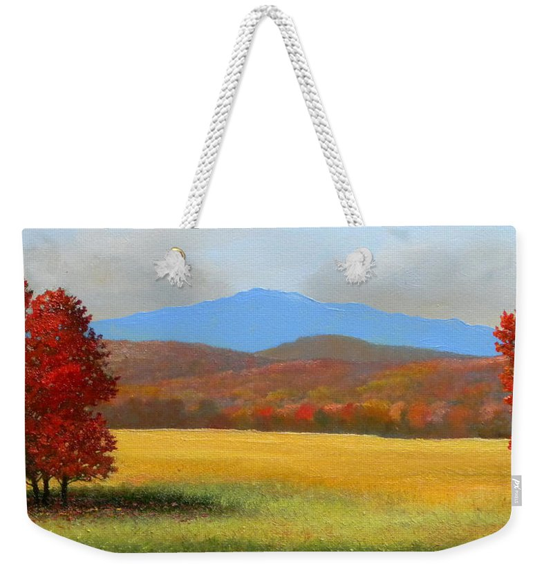 Autumn Weekender Tote Bag featuring the painting Pasture Guardians by Frank Wilson
