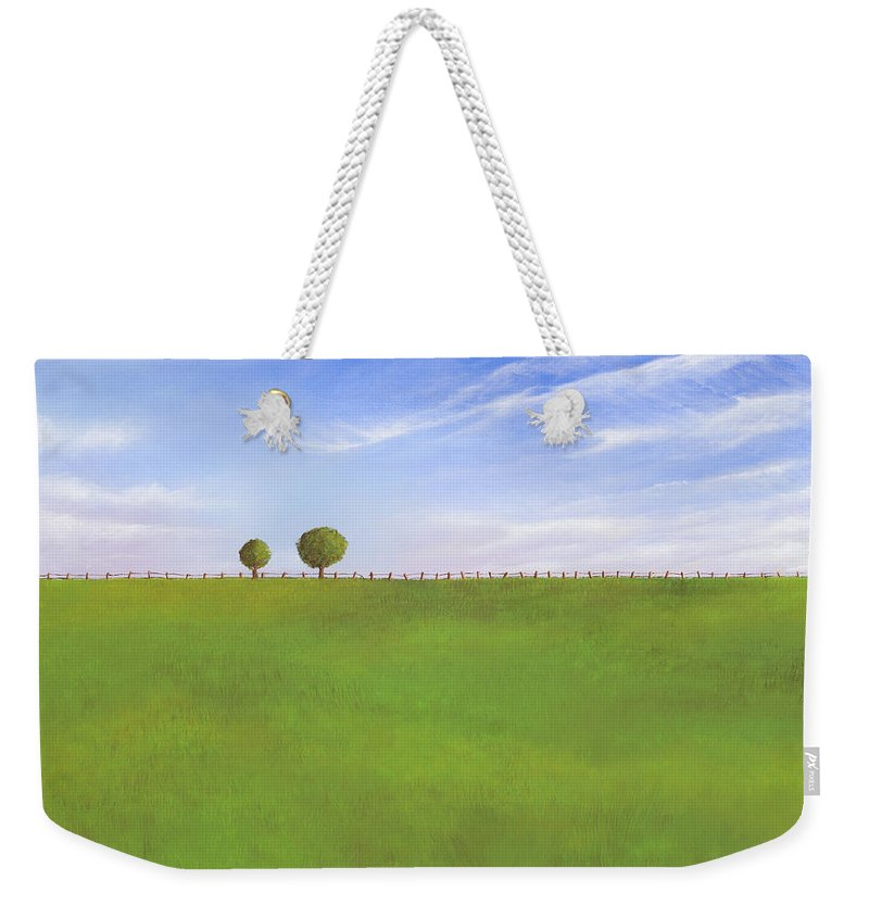 Nebraska Weekender Tote Bag featuring the painting Pasture Land by Cindy D Chinn