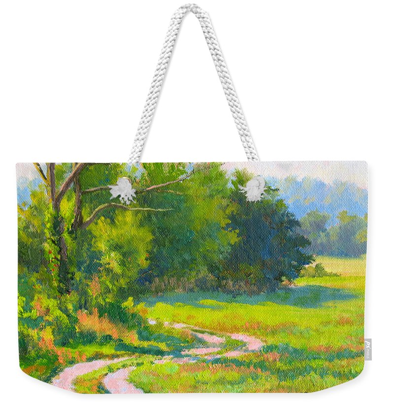 Landscape Weekender Tote Bag featuring the painting Pasture Road by Keith Burgess