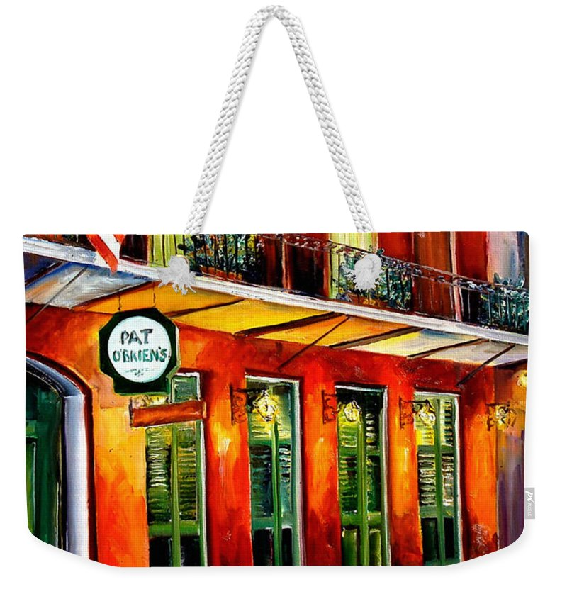 New Orleans Paintings Weekender Tote Bag featuring the painting Pat O Briens Bar by Diane Millsap