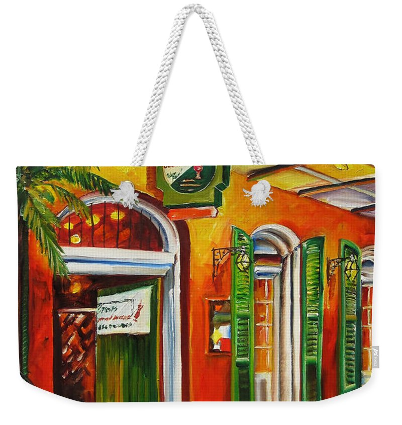 New Orleans Weekender Tote Bag featuring the painting Pat O'brien's Bar On Bourbon Street by Diane Millsap
