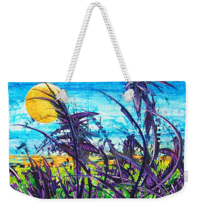 Landscape Weekender Tote Bag featuring the painting Patch of Field Grass by Rollin Kocsis