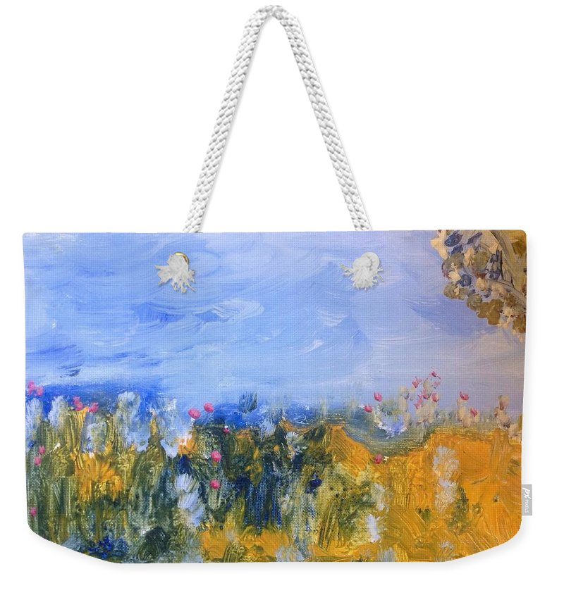 Patchwork Weekender Tote Bag featuring the painting Patchwork by Judith Desrosiers