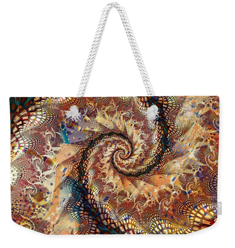 Fractal Weekender Tote Bag featuring the digital art Patchwork Spiral by Richard Ortolano