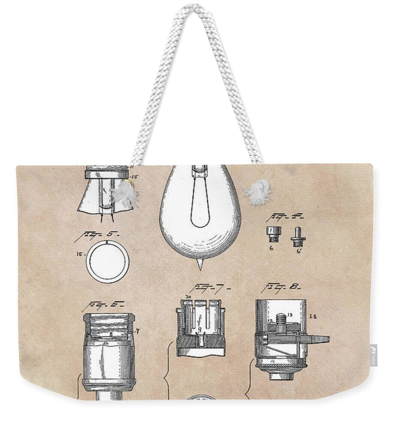 Edison Weekender Tote Bag featuring the digital art patent art Edison 1890 Lamp base by Justyna JBJart