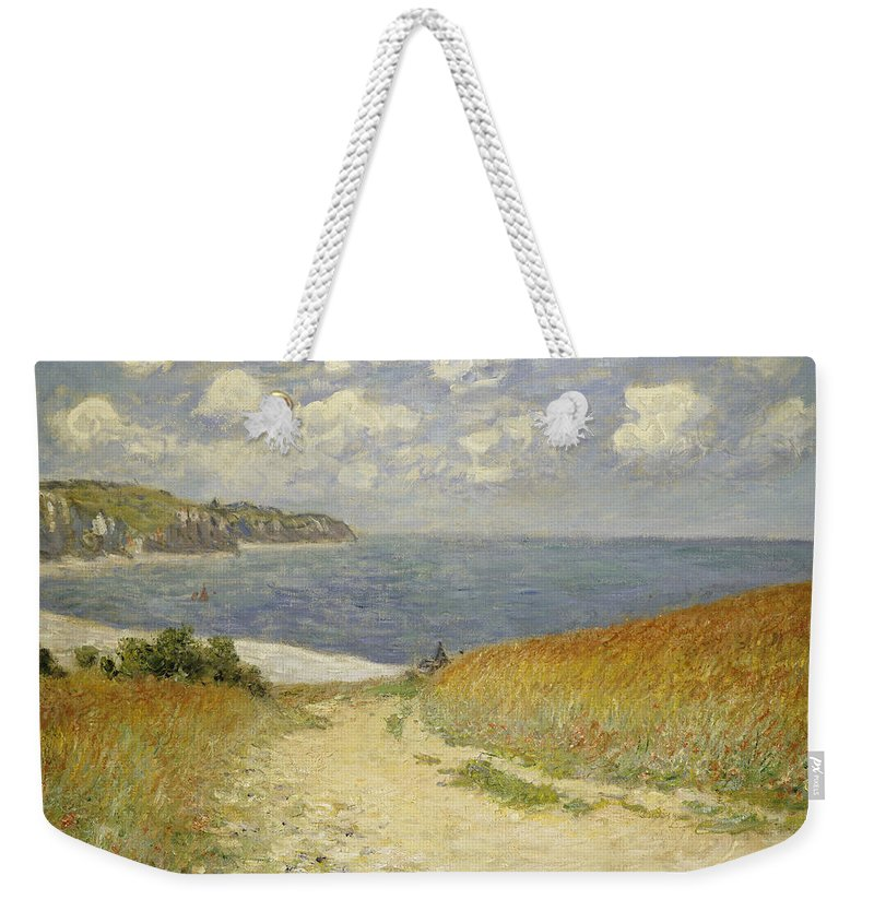 Path In The Wheat At Pourville Weekender Tote Bag featuring the painting Path In The Wheat At Pourville by Claude Monet