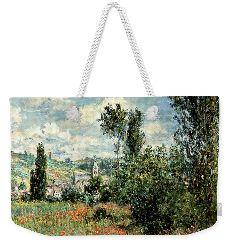 Path Weekender Tote Bag featuring the painting Path through the Poppies by Claude Monet