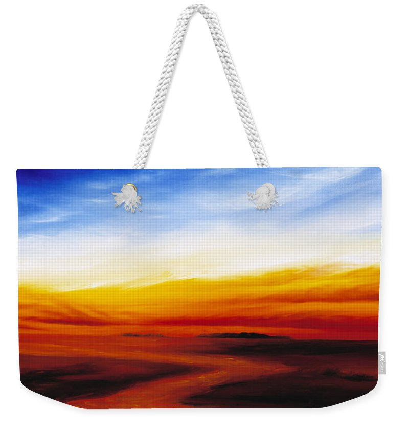 Sunrise Weekender Tote Bag featuring the painting Path To Redemption by James Christopher Hill