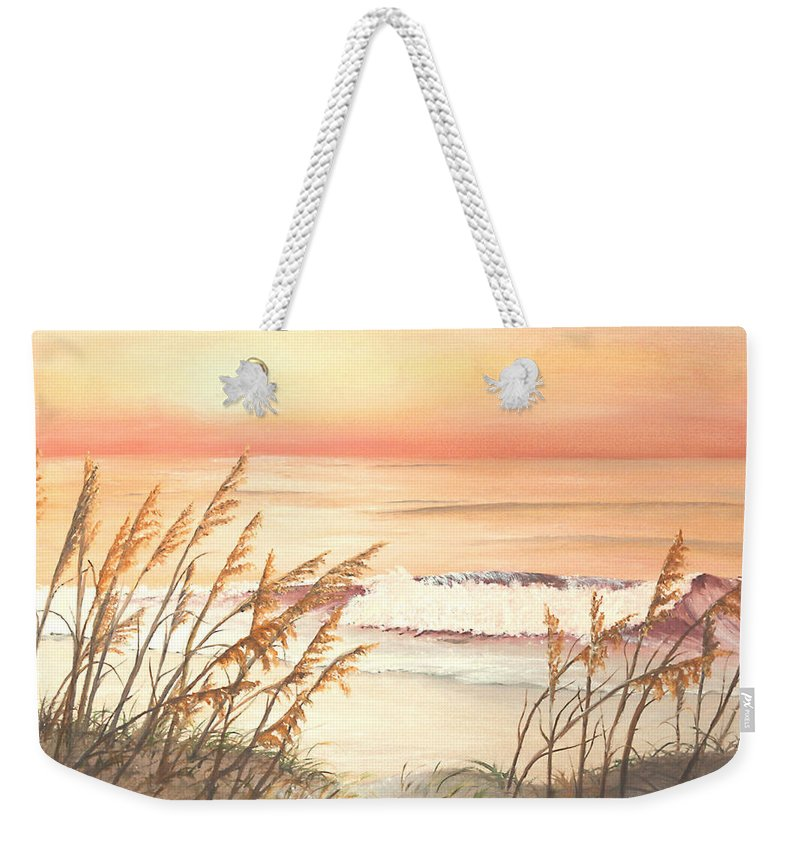 Nature Weekender Tote Bag featuring the painting Path To Sunlit Waters by Johanna Lerwick