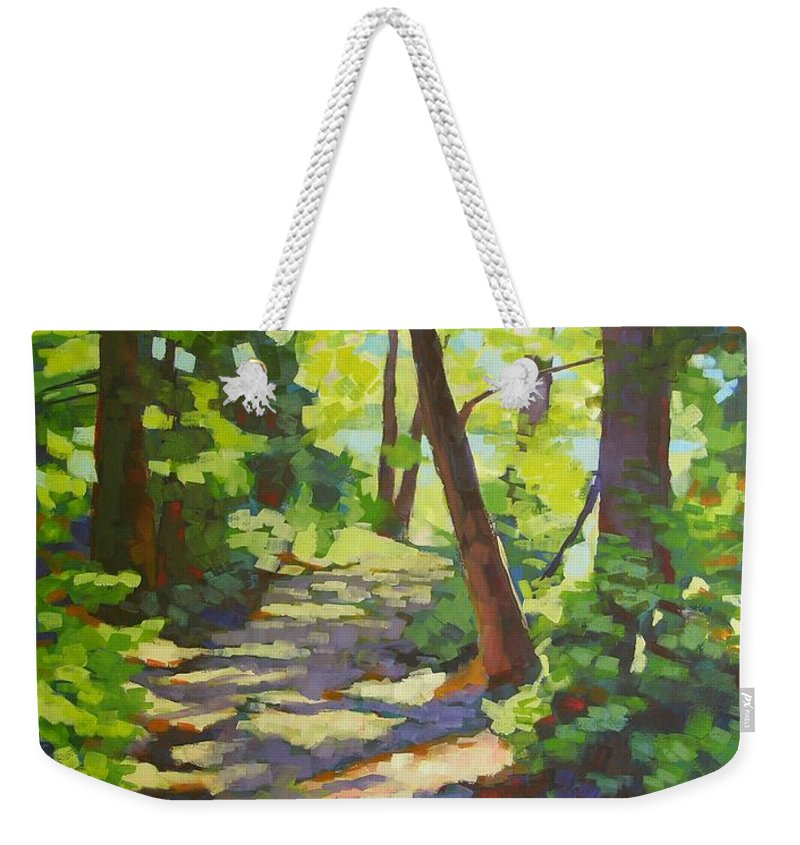 Landscape Weekender Tote Bag featuring the painting Path To The Lake by Mary McInnis