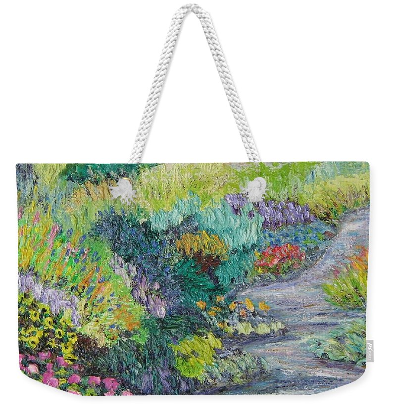 Flowers Weekender Tote Bag featuring the painting Pathway Of Flowers by Richard Nowak