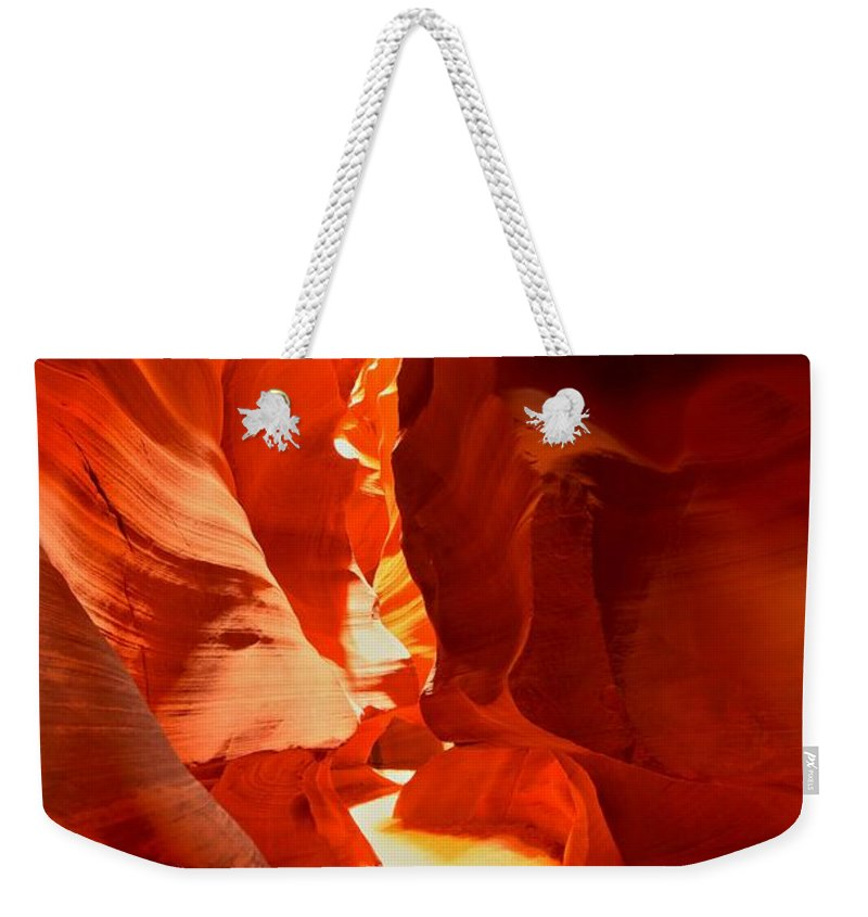 Upper Antelope Canyon Weekender Tote Bag featuring the photograph Pathway Through Upper Antelope by Adam Jewell
