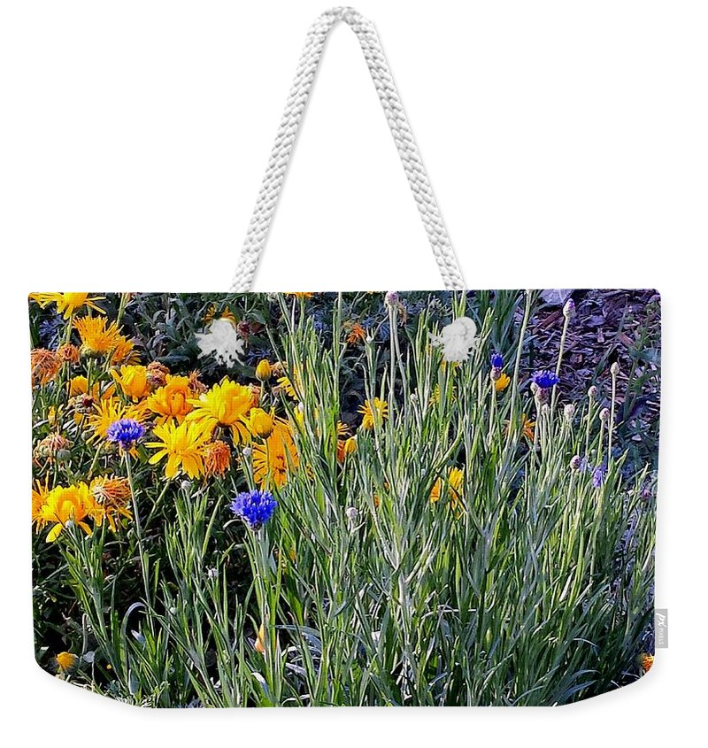 Flowers Weekender Tote Bag featuring the photograph Patiently Waiting by Kristalin Davis
