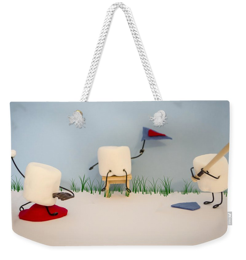 Baseball Weekender Tote Bag featuring the photograph Patisserie Pastime by Heather Applegate