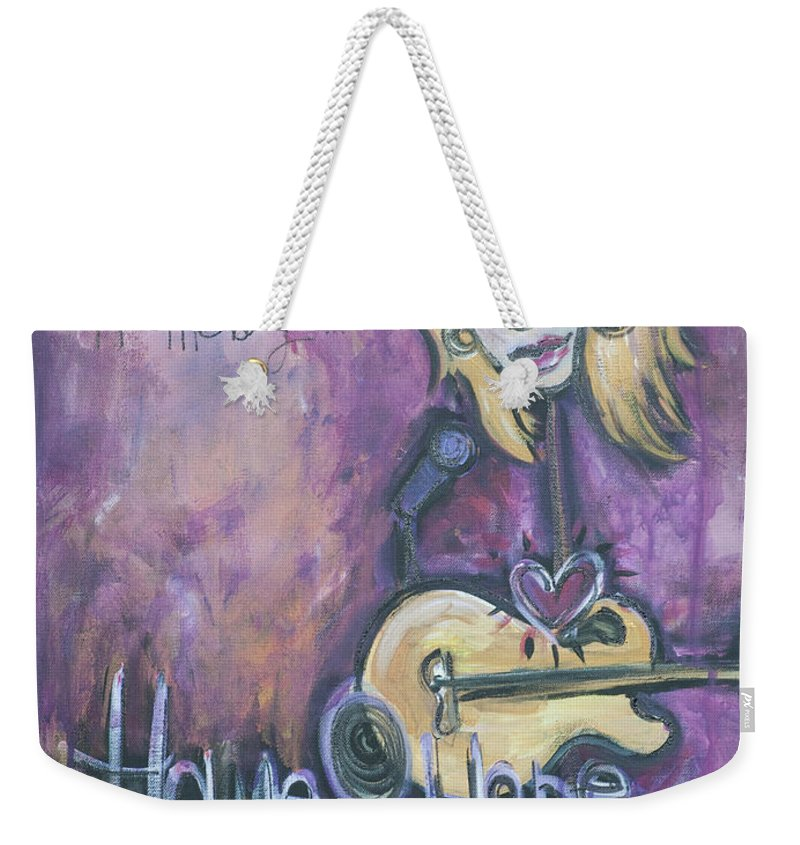 Patrice Pike Weekender Tote Bag featuring the painting Patrice Pike Live by Laurie Maves ART