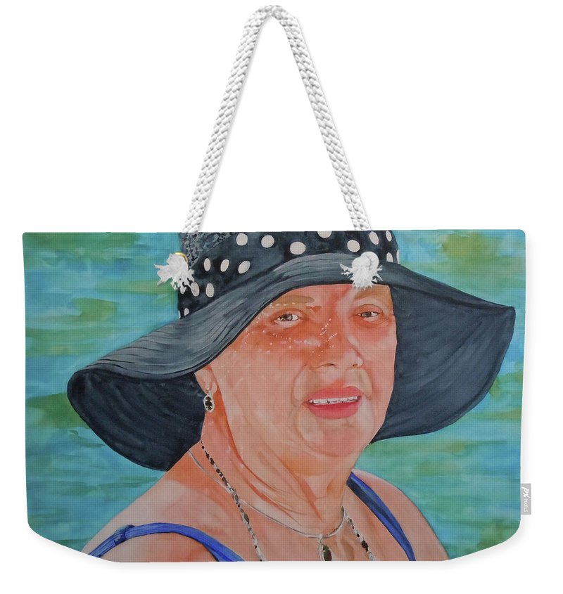 Swimmer Weekender Tote Bag featuring the painting Patricia by Jean Blackmer