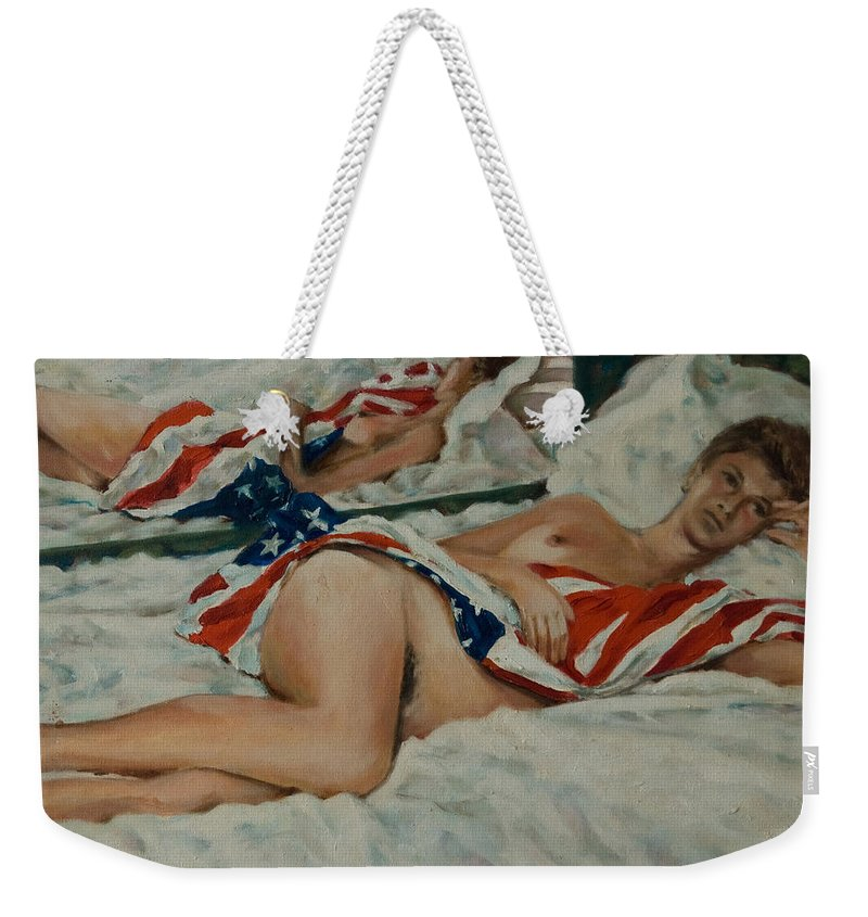 Nude Weekender Tote Bag featuring the painting Patricia by Rick Nederlof