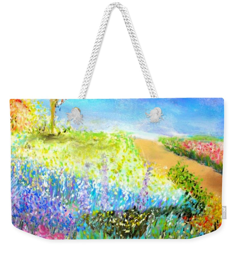 Landscape Weekender Tote Bag featuring the print Patricia's Pathway by Melinda Etzold