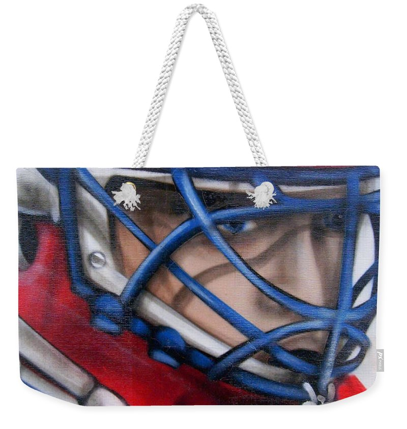 North America Weekender Tote Bag featuring the photograph Patrick Roy ... by Juergen Weiss