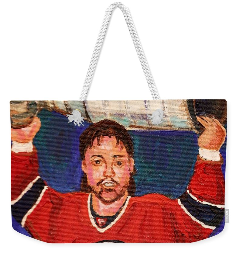 Hockey Weekender Tote Bag featuring the painting Patrick Roy Wins The Stanley Cup by Carole Spandau