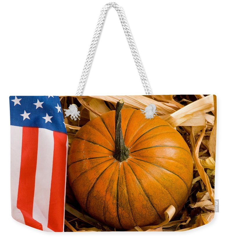 Pumpkin Weekender Tote Bag featuring the photograph Patriotic American Pumpkin by James BO Insogna