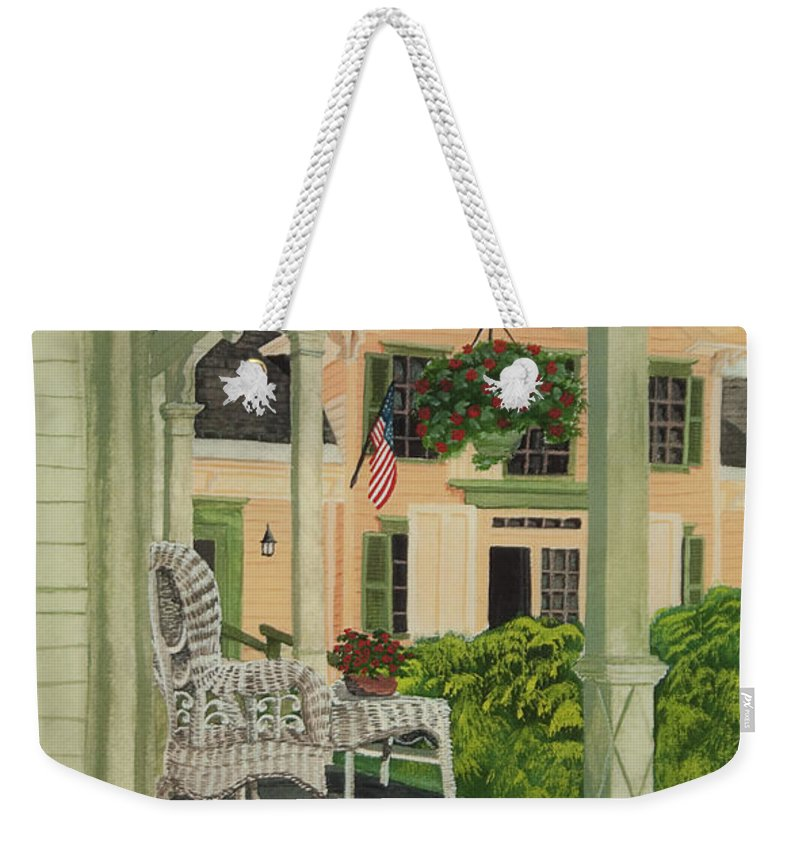 Side Porch Weekender Tote Bag featuring the painting Patriotic Country Porch by Charlotte Blanchard