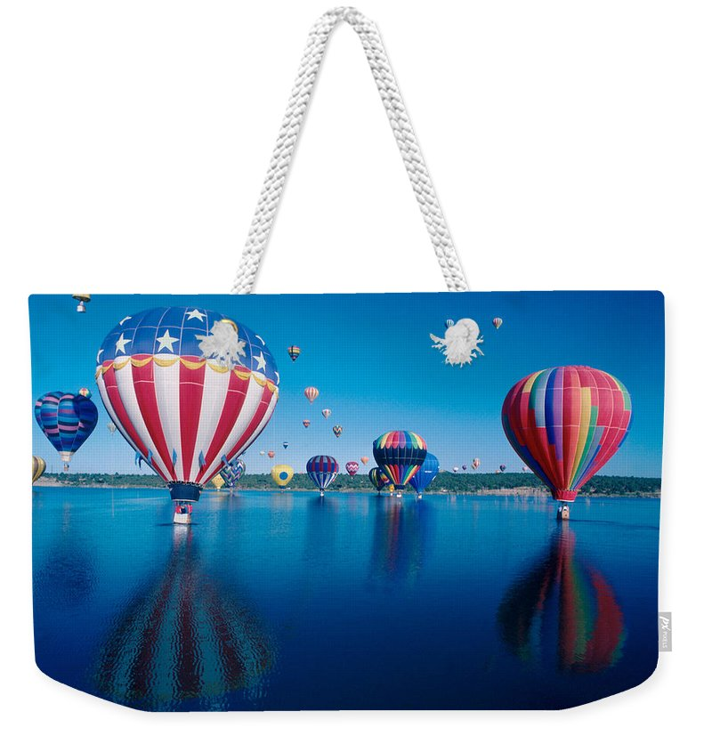 Hot Air Balloons Weekender Tote Bag featuring the photograph Patriotic Hot Air Balloon by Jerry McElroy