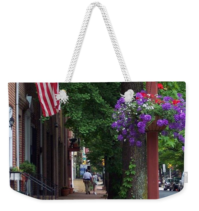 Cityscape Weekender Tote Bag featuring the photograph Patriotic Street In Philadelphia by Debbi Granruth