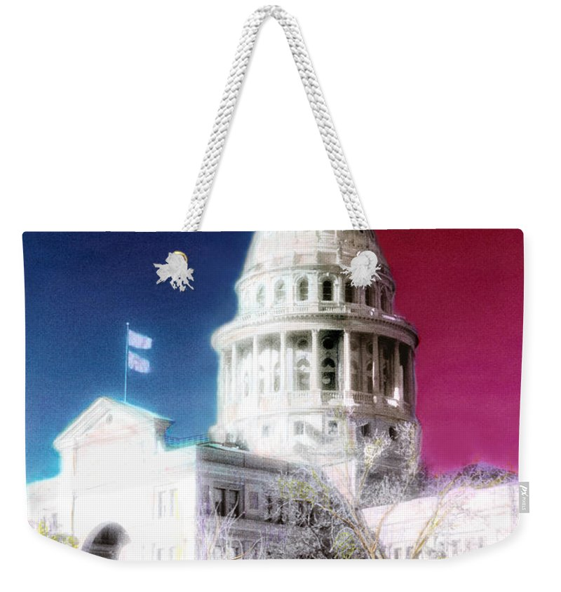 Americana Weekender Tote Bag featuring the photograph Patriotic Texas Capitol by Marilyn Hunt
