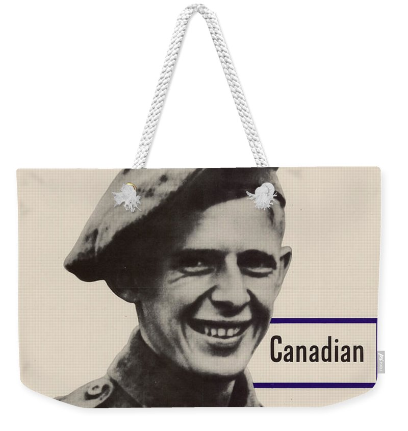 Patriotic World War 2 Poster Us Allies Canada Weekender Tote Bag featuring the photograph Patriotic World War 2 Poster Us Allies Canada by R Muirhead Art