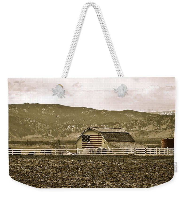 Americana Weekender Tote Bag featuring the photograph Patriotism And Barn by Marilyn Hunt