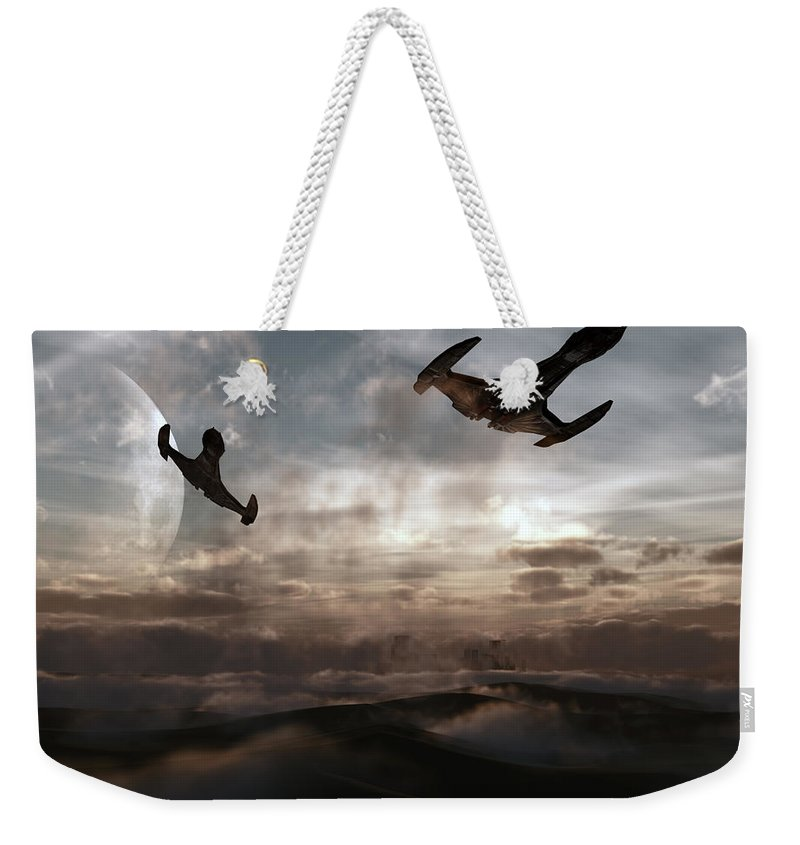 Sci-fi Weekender Tote Bag featuring the digital art Patrol Of Sector 9 by Richard Rizzo