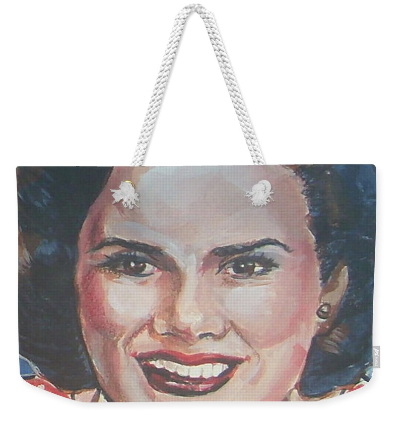 Patsy Cline Weekender Tote Bag featuring the painting Patsy Cline by Bryan Bustard